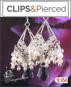 Sterling Silver Filigree Crystal & Pearls Earrings | Your choice:  Pierced or Clips