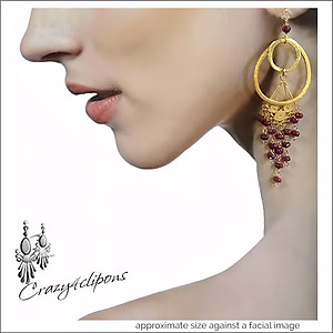 Golden Hoop with Rubies Earrings | Clips & Pierced