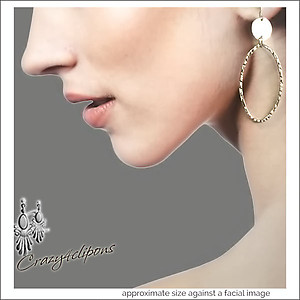 Long Sterling Silver Oval Hoop Earrings | Your choice:  Pierced or Clips