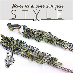 Antique Brass Tassel Chandeliers Earrings | Your choice:  Pierced or Clips