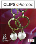 Antique Brass & Faux Pearl Earrings | Your choice:  Pierced or Clips