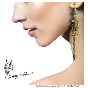 Long Dangle Fish Bone Earrings | Your choice:  Pierced or Clips