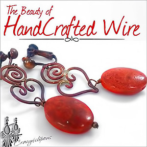 Sponge Coral & Wired Hearts | Your choice:  Pierced or Clips