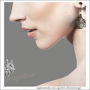 Vintage Flair. Antiqued Filigree & Crystal Earrings | Your choice:  Pierced or Clips