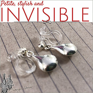 Sterling Silver Dangling Earrings with invisible clips
