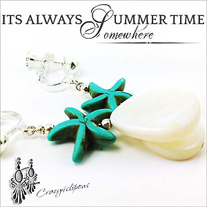 A day in the Beach: Starfish Earrings | Your choice: Pierced or Clips