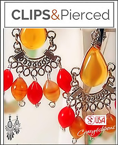 Ethnic Mini Chandelier Earrings | Your choice:  Pierced or Clips