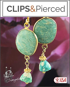 Vermeil & Amazonite Bezeled Earrings | Your choice: Pierced or Clips