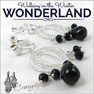 Sterling Silver Filigree & Black Onyx Earrings | Your choice:  Pierced or Clips