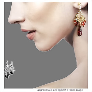 Christmas Gold & Red Earrings/Chandeliers | Your choice:  Pierced or Clips