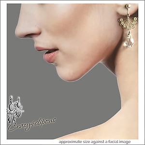Sterling Silver Filigree & Crystal Earrings | Your choice: Pierced or Clips