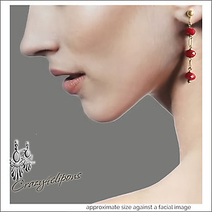 Holiday Cranberry Red Dangling Earrings | Your choice:  Pierced or Clips