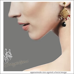 Sparkling Crystal Gold & Onyx Earrings | Your choice: Pierced or Clips