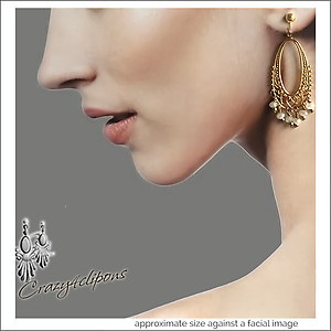 Vintage Romantic Flair. Gold Hoop Earrings | Your choice: Pierced or Clips