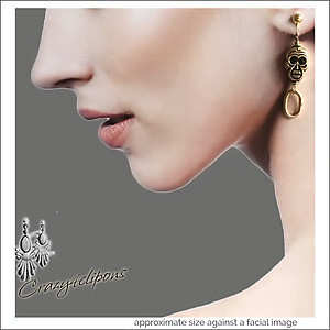 Golden Skulls w/ Crystals Mini Hoops | Your choice:  Pierced or Clips
