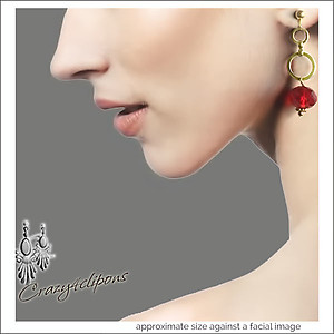 Christmas: mini Hoop & Red Crystal Earrings | Your choice: Pierced or Clips