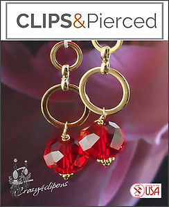 Dangling mini Hoop & Red Crystal Earrings | Your choice:  Pierced or Clips