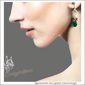 Christmas: Crystal Teardrops & Silver Earrings | Your choice:  Pierced or Clips