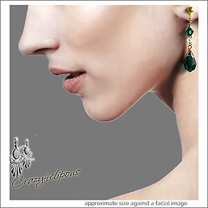 Christmas Ready. Emerald Green Dangling Earrings | Your choice: Pierced or Clips