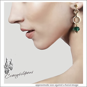 St Patrick / Holidays: Green Gold Hoop Earrings