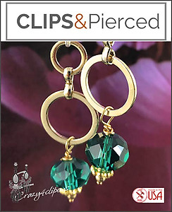 Emerald Green Gold Hoop Earrings | Your choice:  Pierced or Clips