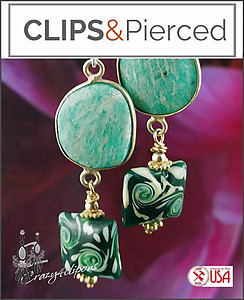 Eclectic. Amazonite & Lampwork Earrings | Your choice:  Pierced or Clips