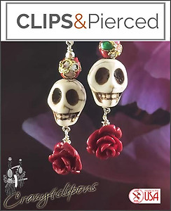 Dia de Los Muertos Earrings | Pierced & Clips