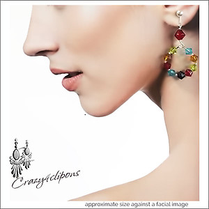 Festival de Colores Hoop Earrings | Your choice:  Pierced or Clip on