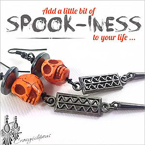 Halloween  Dancing Skulls Earrings | Your choice:  Pierced or Clips