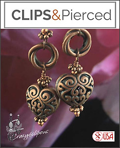 Artisan Antique Copper Heart Earrings | Your choice:  Pierced or Clips