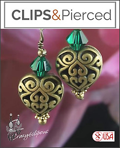 Antique Brass  Hearts w/ Crystal Earrings | Your choice:  Pierced or Clips