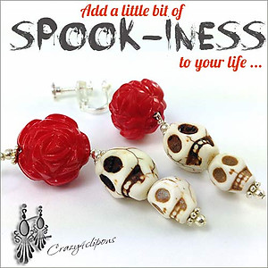 Frida Kahlo. Skulls & Red Roses | Your choice:  Pierced or Clips