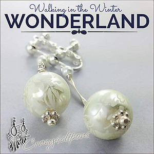 Floral Moons: Lovely, Romantic White Earrings | Your choice: Pierced or Clips