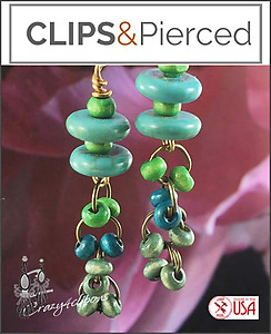 Light and Dangling Teal Earrings | Your choice: Pierced or Clips