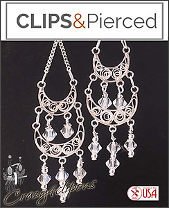 Bridal Swarovski Crystals Long Earrings | Your choice: Pierced or Clips