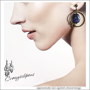 Brass & Blues Earring Hoops | Your choice: Pierced or Clips