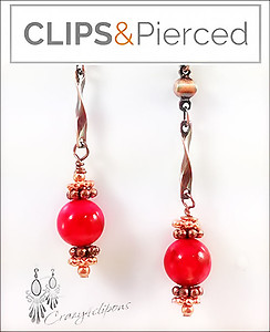 Fiery Sunset Autumn Earrings | Your choice:  Pierced or Clips