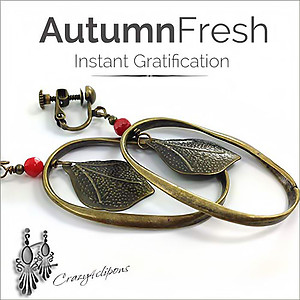 Autumn Leaves Earrings Hoops | Your choice:  Pierced or Clips