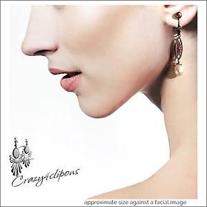 Antique Copper & Pearl Earrings | Your choice:  Pierced or Clips