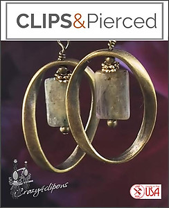 Brass & Labradorite Hoop Earrings | Your choice:  Pierced or Clips