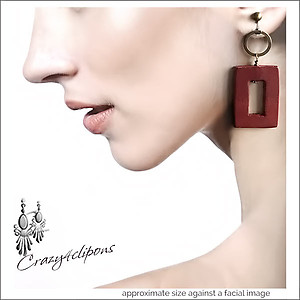 Country Style. Leather Square Earrings | Your choice: Pierced or Clips