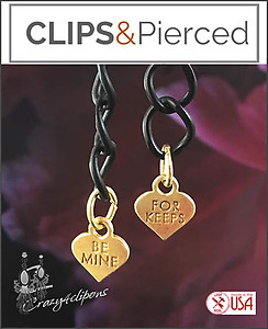Valentines:  Black Chain w/Gold Hearts Earrings | Your choice:  Pierced or Clips