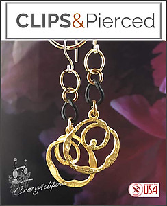 Gold Hoops.  Black Chain Earrings | Your choice:  Pierced or Clips