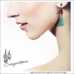 Faux-Turquoise & Red Earrings | Your choice:  Pierced or Clips