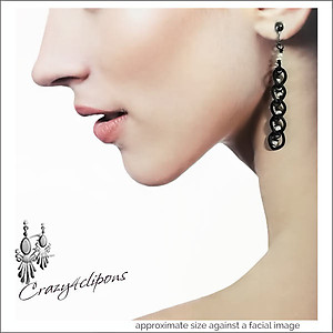 Sleek Black Chain Earrings | Your choice: Pierced or Clips
