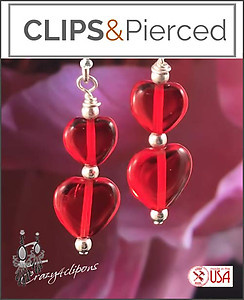 Red Heart Earrings | Your choice:  Pierced or Clips