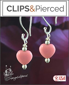 Little Pink Heart Earrings | Your choice:  Pierced or Clips