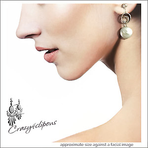 Bridal White Pearl Coin Earrings | Your choice:  Pierced or Clips