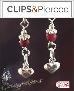Petite Hearts w/ Ruby Earrings | Your choice:  Pierced or Clips