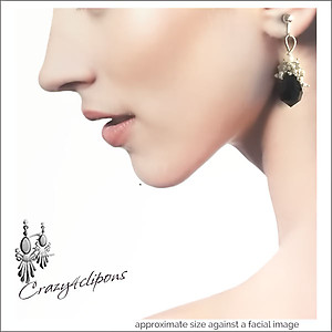 Black Crystals & Pearl Clustered Earrings | Your choice: Pierced or Clips